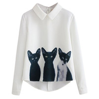 Fashion Three Cats Printing Pullover Shirt Long Sleeve 2016 Casual Girls Korean Style White Blouse