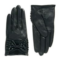 ASOS | ASOS Leather Embellished Bow Gloves at ASOS