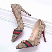 gucci women color brown fashion leather high heels shoes