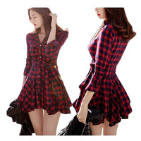 2015 spring new Korean version of Slim thin waist temperament fall and winter red plaid long-sleeved dress high street dresses = 1932763076
