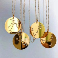 Horoscope Astrology Zodiac Statement Necklace For Women Gothic Jewelry Gold 12 Constellations Necklace Round Charm Choker Gift