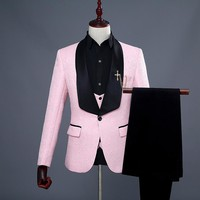 2018 New Mens Suits Pink/White/Red Luxury Brand Suit Men Tuxedo Party Mens Dress Suit 3 Pieces Wedding Slim Fit Blazer Set
