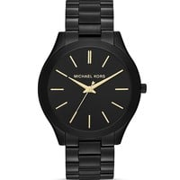 Michael Kors Mid-Size Black Slim Runway Three-Hand Watch, 42mm