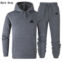 Adidas Trending Popular Men Women Print Top Pants Two Piece Set Sportswear Dark Grey