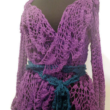 Lacy crochet cover up in purple, crochet jacket, purple cotton cover up