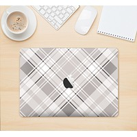 "The Gray & White Plaid Layered Pattern V5 Skin Kit for the 12"" Apple MacBook (A1534)"
