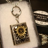 Steampunk Neo Victorian Clockwork Gears Heart  Book LOCKET Necklace- Makes a great VALENTINES DAY Gift (1845)
