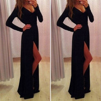 New Women Long Sexy Evening Party Ball Prom Gown Side Slit Cocktail Dress S M L