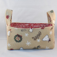 Christmas Fabric Basket With Handles