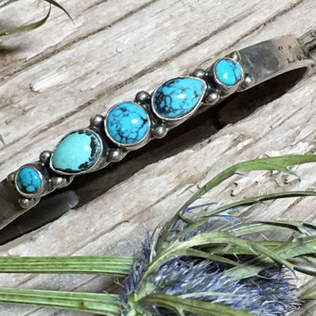 Turquoise Row Bracelet Stacking Sterling Silver Navajo Southwestern