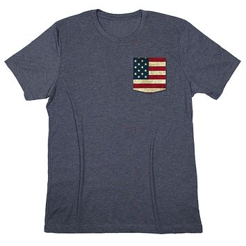Coastal Life: Old Glory American Flag Pocket T-shirt
