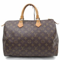 Authentic Louis Vuitton Hand Bag Speedy 35 M41524 Browns Monogram 180863
