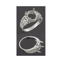 (6x4mm -10x8mm) Oval Filigree Cabochon Sterling Ring Setting (Ring Sizes 5-8)