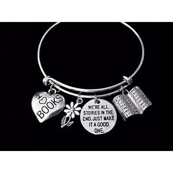 I Love Books Adjustable Charm Bracelet Book Lover Silver Expandable Bangle One Size Fits All Gift