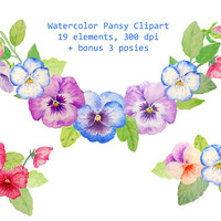 Hand Drawn Watercolor Pansy Blue Purple Red printable instant download scrapbook for greeting cards wedding invitations