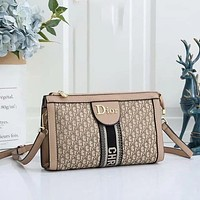 Dior Fashionable Canvas Embroidered Shopping Bag Cross Body Bag Lady-3