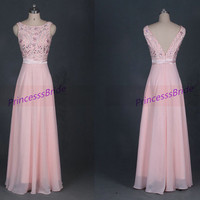Long pearl pink chiffon prom dresses with crystals,cheap v back gowns for graduation party,2014 chic women homecoming dress hot.