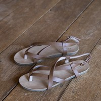 Twisty Sandals, Tan