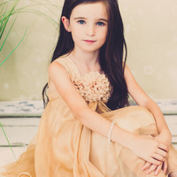 Shimmering Gold Chiffon Occasion Dress with 2 Tier Layers & Chiffon Flowers (Girls Sizes 2T - 14)