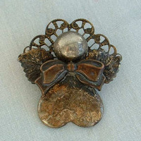 Old Angel Shaped Lapel Pin Tie Tac Dark Patina Silverplated Holiday Religious Jewelry