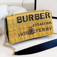 Burberry New fashion letter print leather shoulder bag crossbody bag Yellow