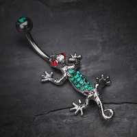 Moving Gecko Lizard Sparkle Belly Ring