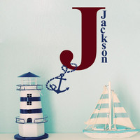 Monogram Name Wall Decals For Boys Decal Sea Anchor Vinyl Sticker Kids Nautical  Decor Nursery Bedroom Mural T35