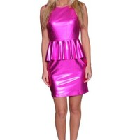 Beautifly Women's Shimmering Fuchsia Peplum Barbie Dress