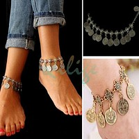 Chic Fashion Bohemian Moon Lovers Tassel Coin Antique Gold/Silver Anklet Chain Bracelet Beach Jewelry = 1928705412