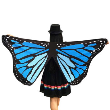 Women Pashmina Butterfly Wings Fairy Print  New Fashion Soft Polyester Ladies Nymph Pixie Costume Wrap Scarf Women 1216# SM6