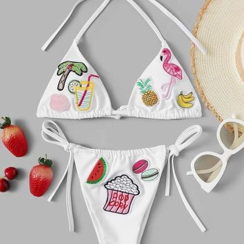 Tropical Pattern Patched Top With Tie Side Bikini