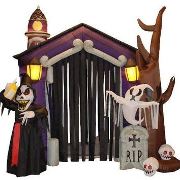 8.5 Foot Halloween Inflatable Haunted House Castle with Skeletons, Ghost and Skulls