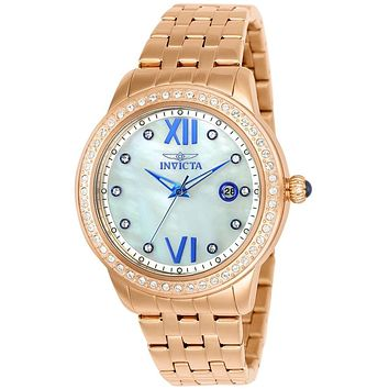 INVICTA Angel Womens 48 Crystal Watch - Rose-Tone - Mother of Pearl Dial - 100m