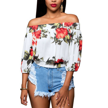 Singwing Summer Sexy Women Print Floral Blouses Short Type Slash Neck Shirts Lantern Sleeve Chiffon Women's Blouses Tops