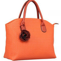 Leather Inexpensive Handbag with Rose Decor