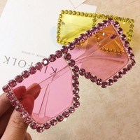 Women Over Sized Rhinestone Vintage Sunglasses
