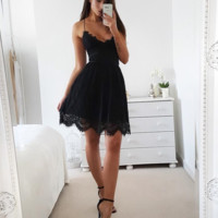 V-neck halter lace sleeveless off-the-shoulder fishtail dress women's dress