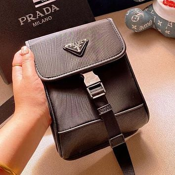 PRADA High Quality Women Men Canvas Crossbody Satchel Shoulder Bag Mobile Phone Package
