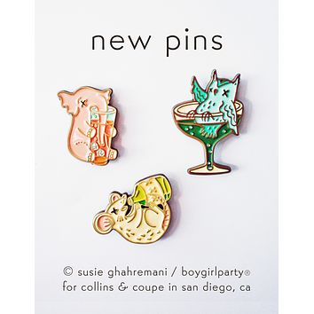 Collins & Coupe Pin Set by boygirlparty -- Set of Three (3) Enamel Pins