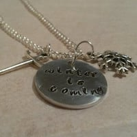 Game of Thrones quote hand stamped necklace Winter is coming