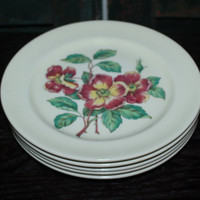 Paden City Pottery wild red and yellow flower bread and butter plates (Set of 5), vintage plates, vintage dinnerware, floral dining set