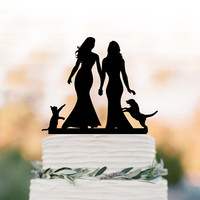Same sex wedding cake topper with cat. lesbian wedding Cake Topper with dog, silhouette cake topper, mrs and mrs wedding cake decoration