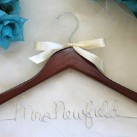 SALE - 4.50 - Personalized Wood Wedding Dress Hanger ANY Name, Wedding Date, Mrs. Your Name, Bride, I Do and More