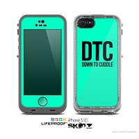 The Teal & Black Down to Cuddle Skin for the Apple iPhone 5c LifeProof Case