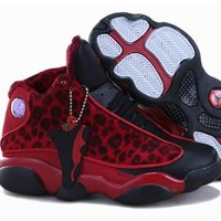 New Nike Air Jordan 13 Kids Shoes Leopard Black Red