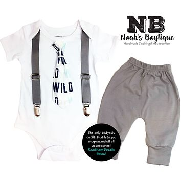 Wild One Baby Boy Tie Outfit Navy Mint Gray Birthday Coming Home