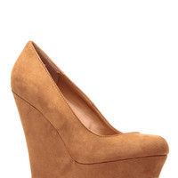 Tan Faux Suede Platform Wedge Pumps