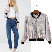 Fashion Women Floral Printed Long Sleeve Outerwear Jacket Top a13008