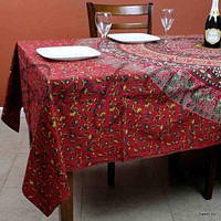 Cotton Floral Tablecloth Rectangle 68x102 Red Blue Green