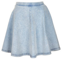 Acid Denim Look Skater Skirt - Skirts  - Clothing